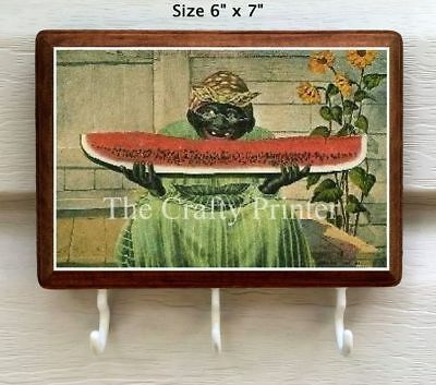 "Black Americana Wood Key Holder - ""Watermelon Mammy"""
