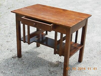 Antique Mission Oak Library Table Small Desk with bookshelves on both ends  Arts - ANTIQUE MISSION OAK Library Table Small Desk With Bookshelves On