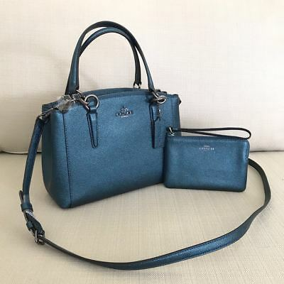 c70788139 New Coach Metallic Dark Teal Mini Christie Leather Satchel Bag F23337 &  Wallet