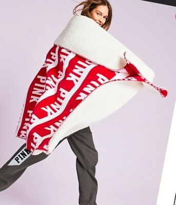 2017 Holiday red white logo Victoria's Secret PINK Cozy Sherpa Blanket 60x72