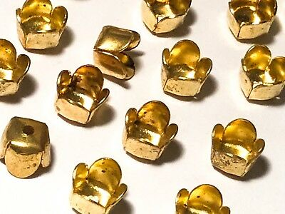 "Qty 24 - Vintage 7mm ""Tulip"" Brass Bead Caps for 6-7mm Beads, Jewelry Findings"