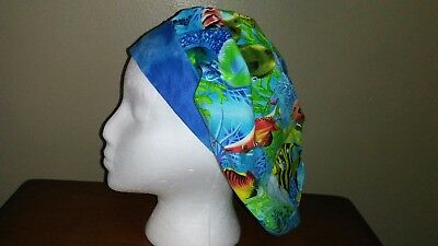 Tropical Fish Women's Bouffant Surgical Scrub Hat/Cap Handmade