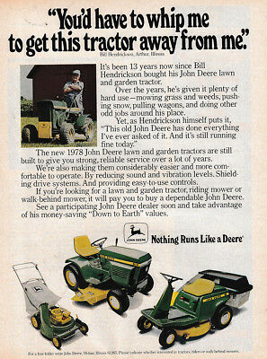 1978 John Deere: You'd Have to Whip e To Get This Tractor Vintage Print Ad