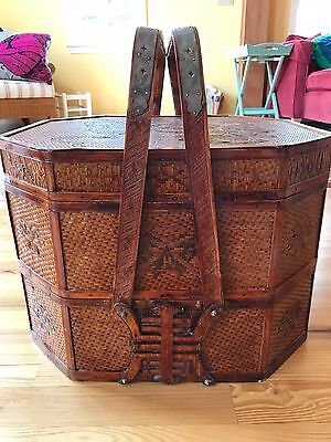 Large Chinese Wicker Rattan 3 Tier Stacked Nesting Wedding Basket Box