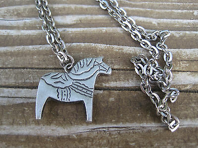 "Swedish Pewter Dala Horse Necklace BT Sweden Stamped ? Vintage 24"" Chain"