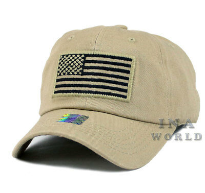 36159b95391 USA American Flag hat Tactical Operator Military Army Cotton Baseball cap-  Khaki