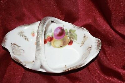 vintage porcelain basket fruit decoration SILESIA German Poland gold trim vgc