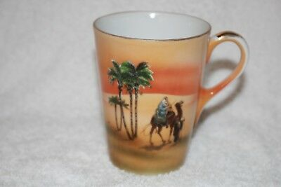 vintage desert scene NORITAKE ? cup camel palm trees EGYPTIAN graphics vgc