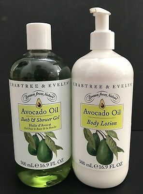 CRABTREE & EVELYN AVOCADO OIL SHOWER GEL & LOTION LOT16.9 oz JUMBO SIZE NEW