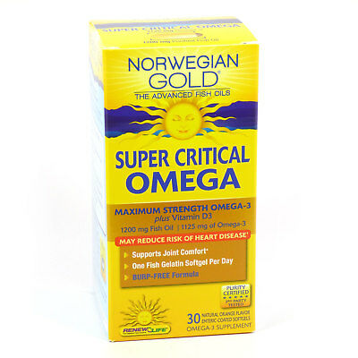 Super Critical Omega Norwegian Gold 1200mg By Renew Life - 30 Fish Gels