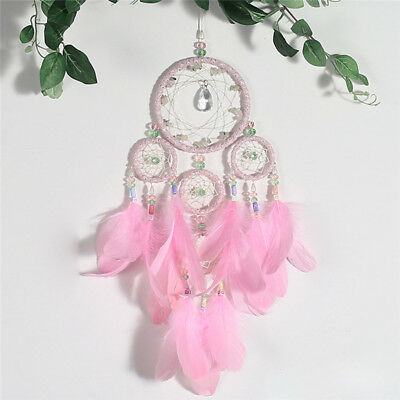 Handmade Dream Catcher with Feather Crystal Wall Hanging Decor Car Ornament Gift
