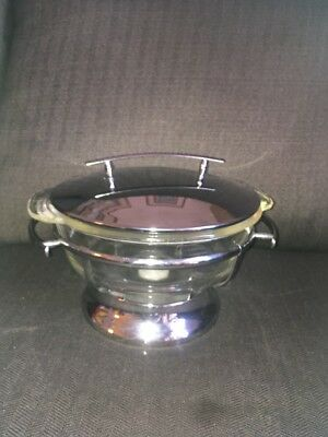 Vintage FireKing Clear Glass Cassarole Dish With  Lid and Warmer