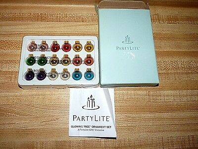 Partylite GLOWING TREE ORNAMENT SET 18 Magnetic Ornaments~ Rare~ Retired~ New!