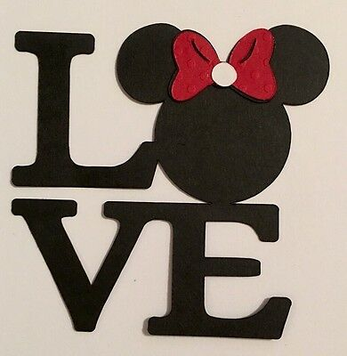 Minnie Mouse Love Word Title Die Cut Paper Piecing Handmade Card Stock