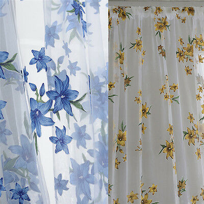 Romantic Floral Tulle Voile Door Window Curtain Drape Panels Sheer Scarf Valance