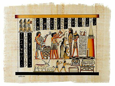 Leolana Handmade Egyptian Papyrus Painting - Embalmment of King Tut - 13x17 &