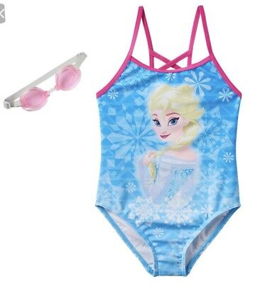 Disney Frozen Elsa Princess Girls Swimsuit 4 - 6 One Piece With Goggles NEW