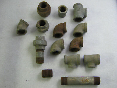 "(14) 1 1/4""  Vintage MADE IN USA Galvanized Pipe Pieces Fittings Steampunk"