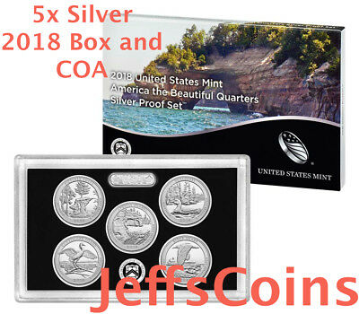 2018 S Silver Quarters Mint Proof 5x Set 90% +Box COA Pictured Rocks -Block 18aq