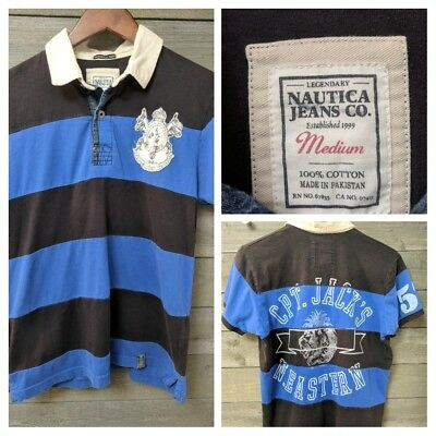 797e0c35c93 Nautica Jeans Short Sleeve Graphic Polo Shirt Men's Sz M Colorblock Striped  A2