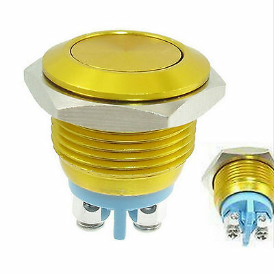 16mm  Momentary SPST Gold Stainless Steel Round Push Button Switch