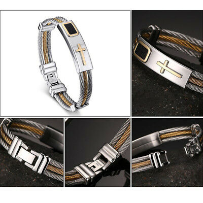 316L Stainless Steel Cross Bracelet Mens Chain Boys Bangle Wristband Wire Link