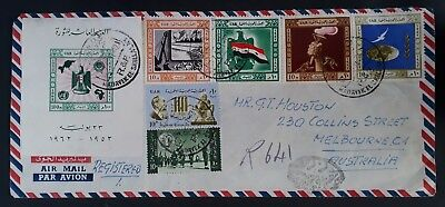 SCARCE 1962 Egypt (U.A.R.) Registd Airmail Cover ties 7 stamps canc Cairo