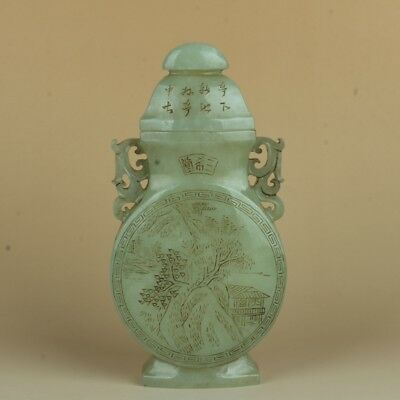 Chinese Exquisite Hand-carved landscape Text carving Hetian jade bottle / pot