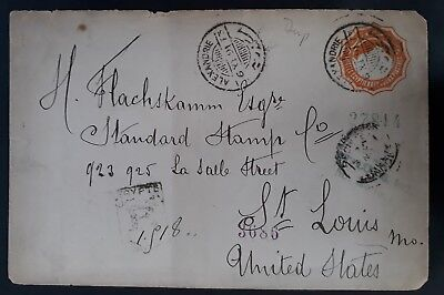 SCARCE 1891 Egypt Registered Cover ties 2 Pia orange stamp cnc Alexandria to USA