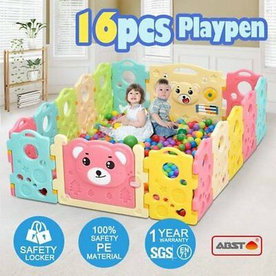 NEW Colourful 16 Sided Panel Indoor/Outdoor Interactive Baby Playpen Play Game