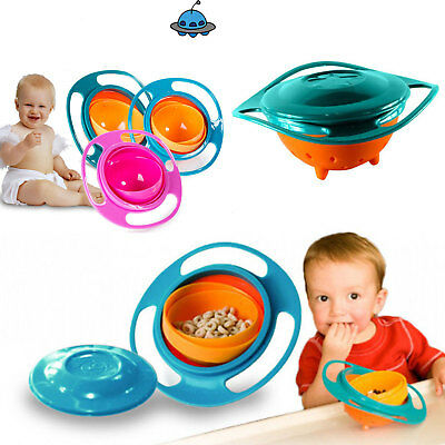 Baby Kid Non Spill Feeding Toddler Gyro Avoid Food Spilling 360 Rotating Bowl UK