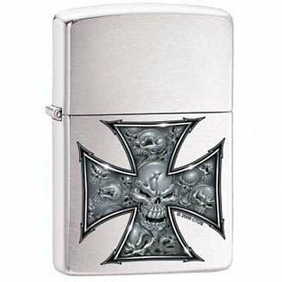 Zippo Lighter - Skull Cross Brushed Chrome - ZCI000416
