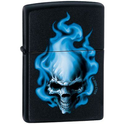Zippo Lighter - Blue Flame Skull Black Matte - ZCI000414