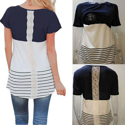 USA Lace Maternity Clothes Breastfeeding T-Shirt nursing Tops For Pregnant Women