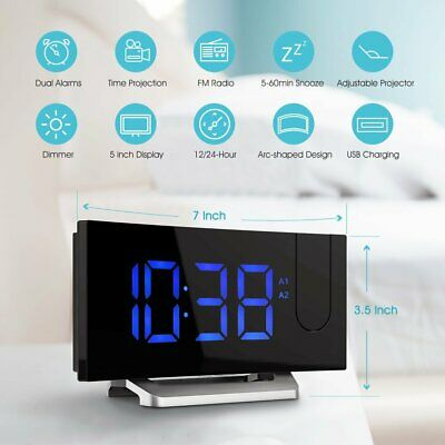Alarm Clock LED Wall/Ceiling Projection LCD Digital Voice Talking FM Radio Clock