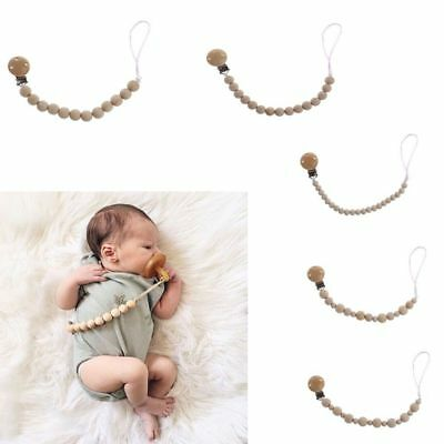 Holder Baby Care Pacifier Chain Dummy Strap Nipple Teether Clip Wooden Beaded