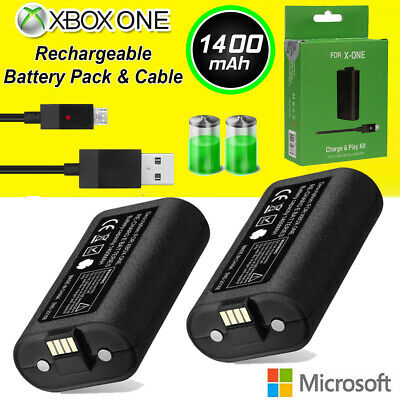 1400mAh For XBOX ONE X S Eliet Play USB Charge Battery Pack & Charging Cable US