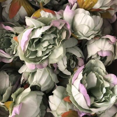 Artificial Silk Flower Heads - Ombre Green / Purple Peony Style 3 - 5 Pack