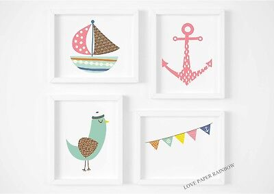 girls nursery prints, nautical, seaside, anchor, boat, scandinavian, beach
