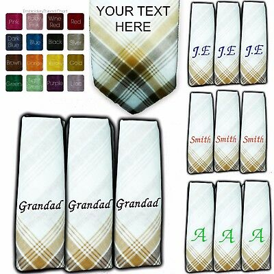 100% Cotton Embroidered Personalised Handkerchief Any Name Colour Hanky Men Lady