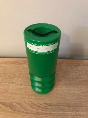 Green Handheld Charity Donation Collection Money Boxes X1