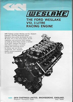 Ford Westlake V12, 3 Litre Racing Engine Brochure and company letters