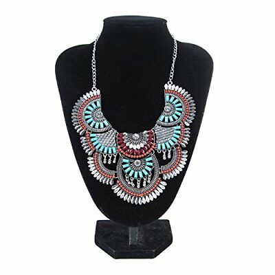 Women Vintage Bohemian Necklace Ethnic Tribal Necklace Turquoise Beads Crystal