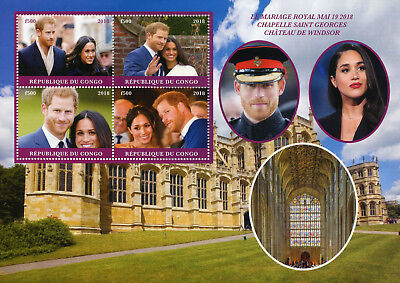 Congo 2018 CTO Prince Harry & Meghan Royal Wedding 4v M/S Royalty Stamps