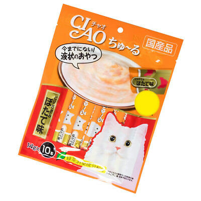14gX10 Inaba Ciao Churu Purées Paste Cat Treats Snack - Chicken Fillet Scallop