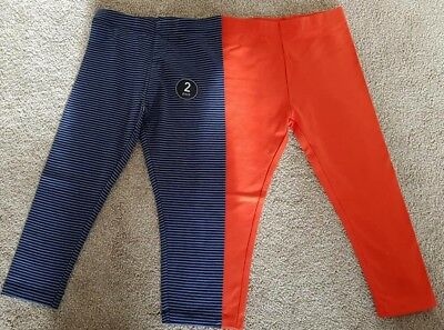 New Girls ex Next 2 Pack Orange Blue Leggings Age 6 Months - 6 Years