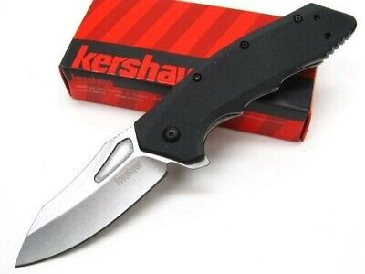 Kershaw Black Flitch Assisted Straight Stonewash Folding Pocket Knife 3930