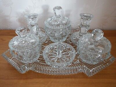 best service c735c 3a242 VINTAGE 7 PIECE CLEAR Glass Crystal Dressing Table Vanity Set. Heavyweight.