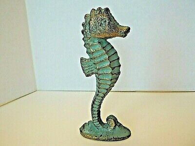 Cast Iron Seahorse Figurine, Nautical Decor, Brass In Color W / Vintage Patina