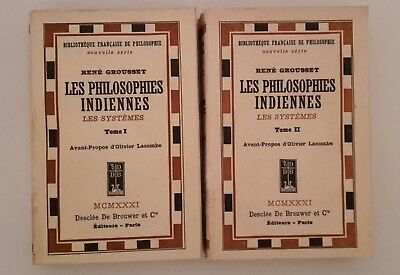 Rene' Grousset Les Philosophies Indiennes Desclee De Brouwer 1931 2 Volumi
